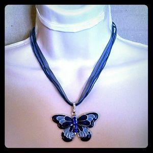 Jewelry - Beautiful enamel blue butterfly ribbon necklace